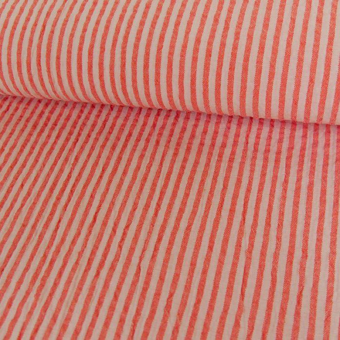 Tissu seersucker rayures - saumon x 10 cm