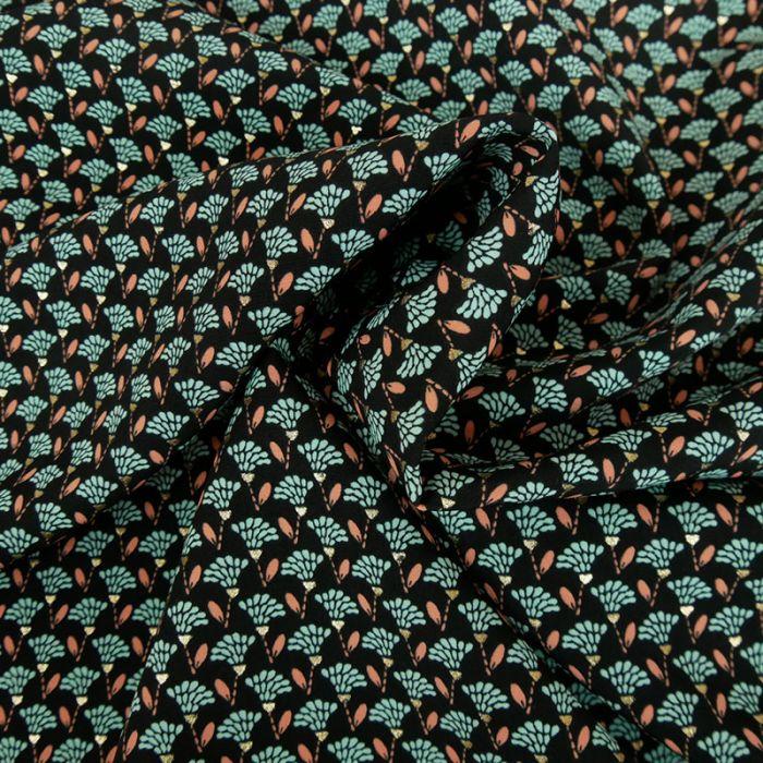 Tissu polyester fleurs - noir x 10 cm