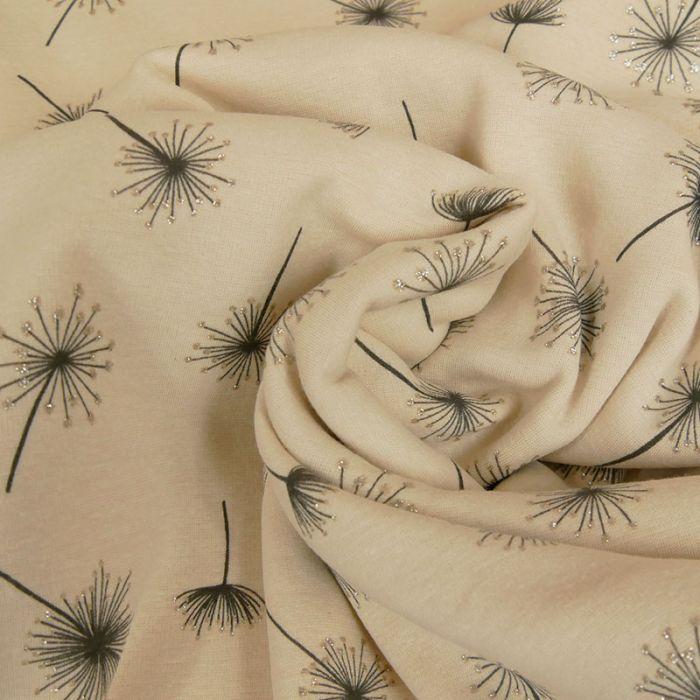 Tissu molleton pissenlits - beige x 10 cm