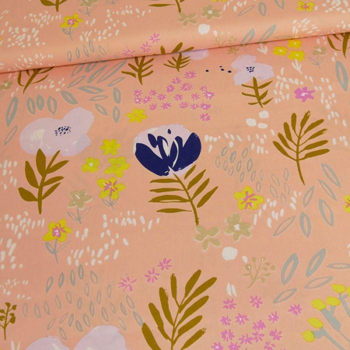 Tissu popeline coton fleurs saumon - Rico Design x 10 cm
