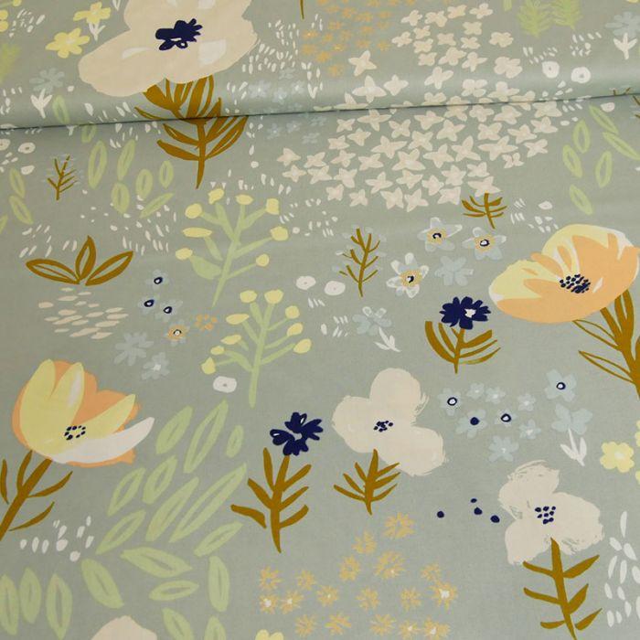 Tissu popeline coton fleurs bleu - Rico Design x 10 cm