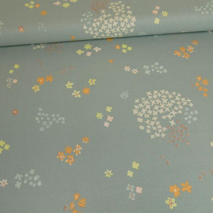 Tissu jersey coton fleurs gris vert - Rico Design x 10 cm