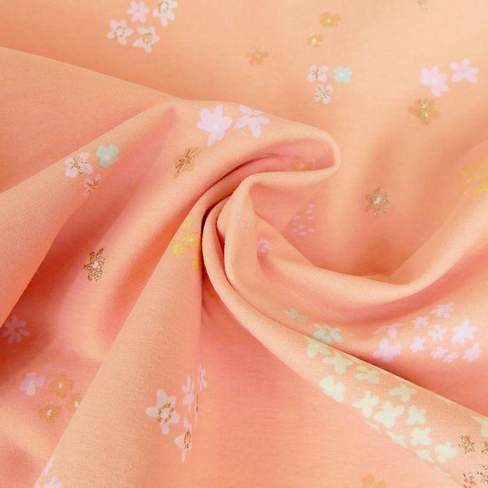 Tissu jersey coton fleurs saumon - Rico Design x 10 cm