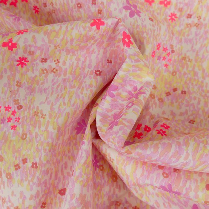Tissu popeline coton fleurs blanc - Rico Design