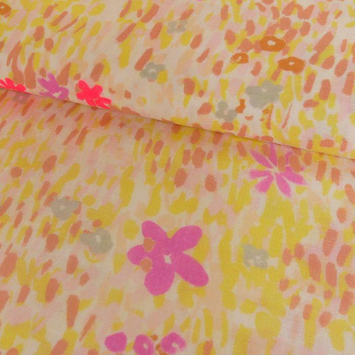 Tissu double gaze coton fleurs blanc - Rico Design x 10 cm