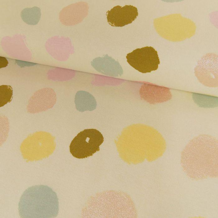 Tissu jersey coton pois écru - Rico Design x 10 cm