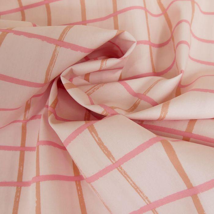 Tissu popeline coton carreaux rose - Rico Design x 10 cm