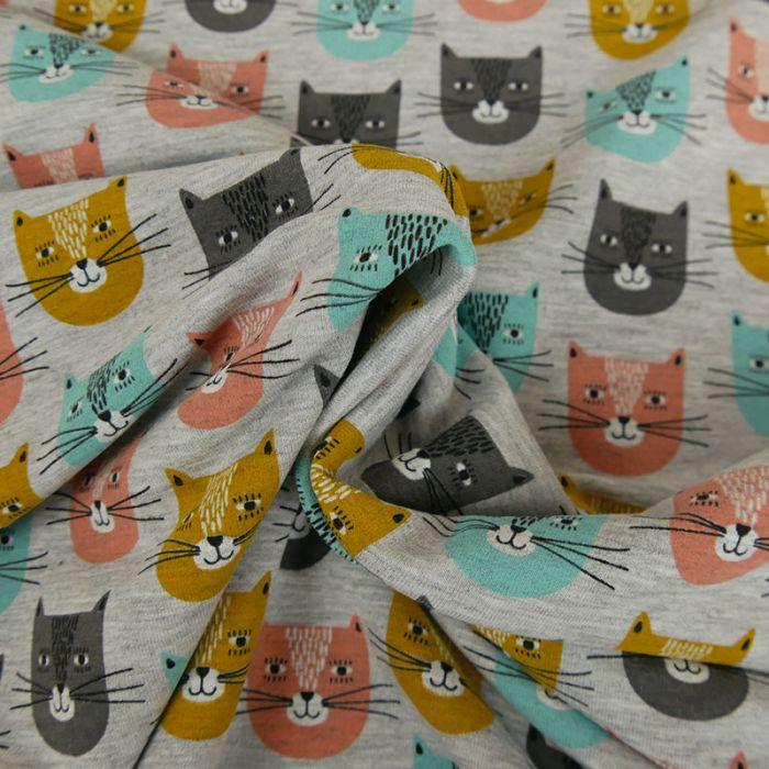 Tissu jersey têtes chats - gris x 10 cm