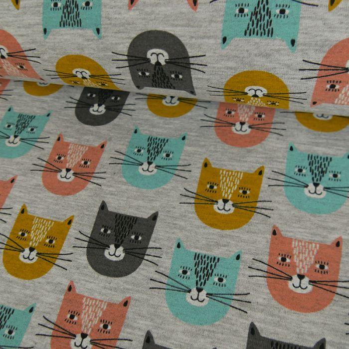Tissu jersey sweat léger chats - gris x 10 cm