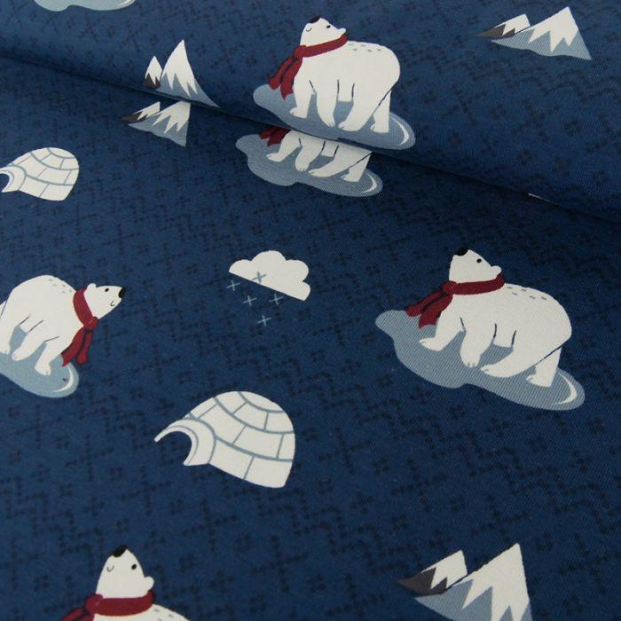 Tissu jersey fin ours banquise - bleu x 10 cm