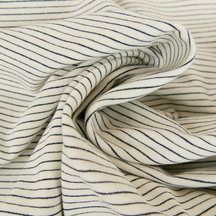 Tissu jersey fin rayures glitter - blanc x 10 cm