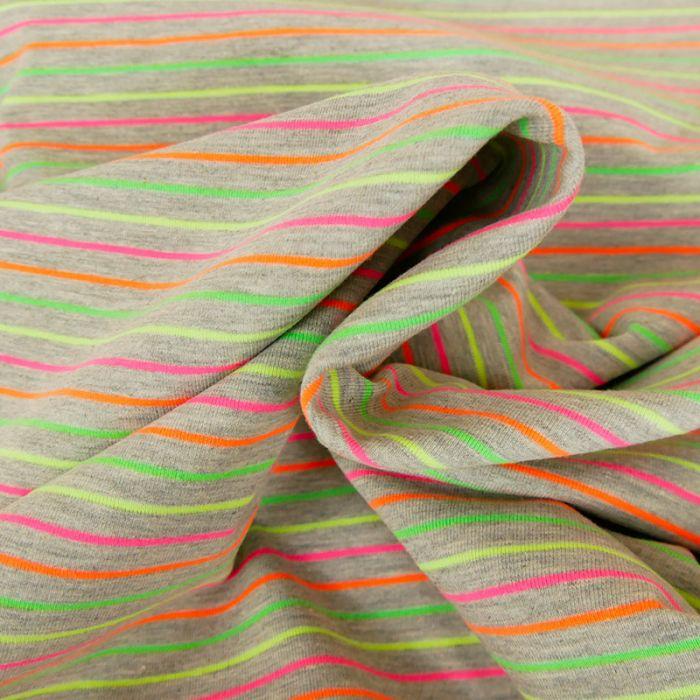 Tissu jersey fin rayures fluo - gris x 10 cm