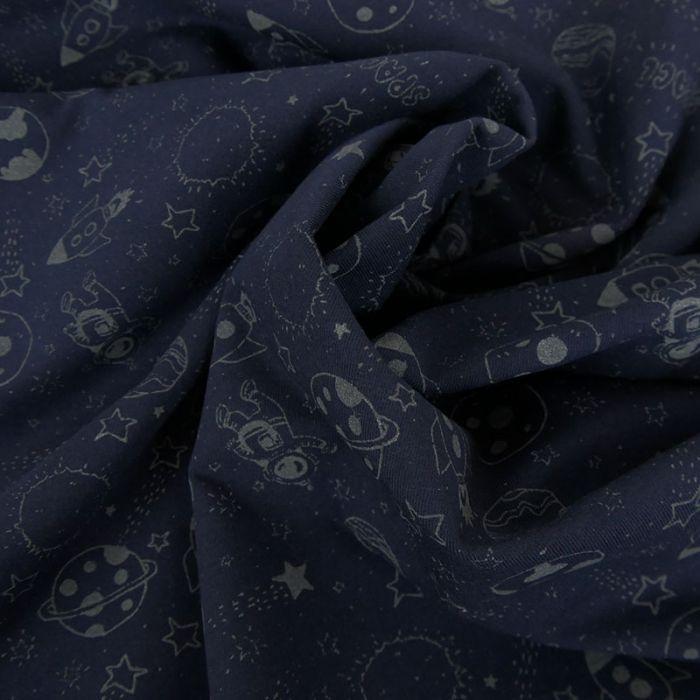 Tissu jersey fin astronautes phosphorescent - marine x 10 cm