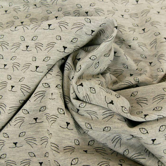 Tissu jersey fin chats phosphorescent - gris x 10 cm