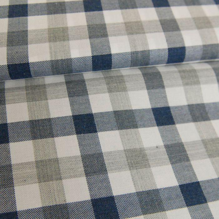 Tissu coton carreaux gris - bleu x 10 cm
