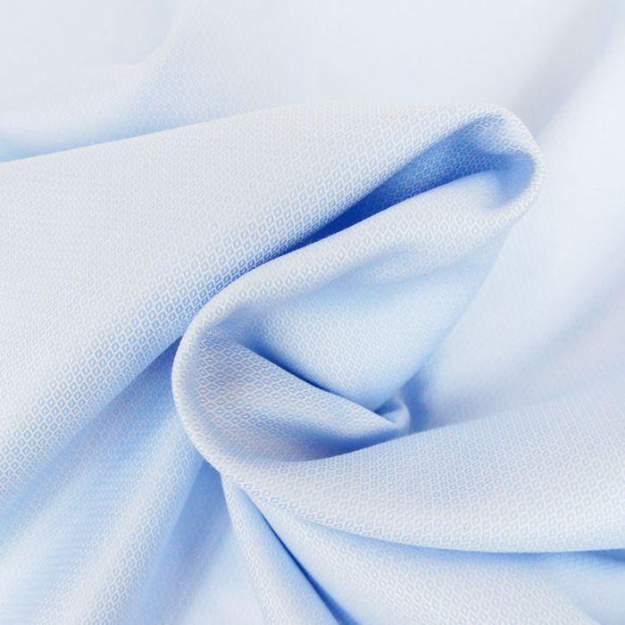 Tissu popeline coton jacquard losanges - bleu ciel x 10 cm
