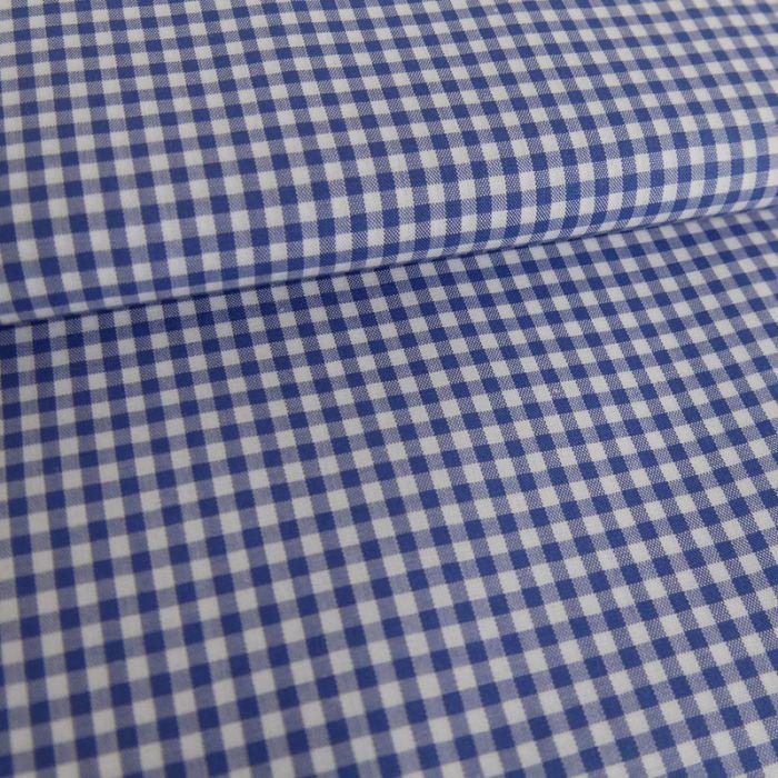 Tissu coton carreaux vichy - bleu x 10 cm