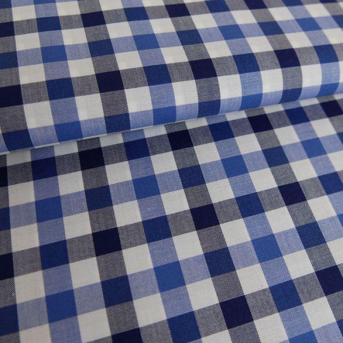 Tissu coton carreaux noir - bleu x 10 cm