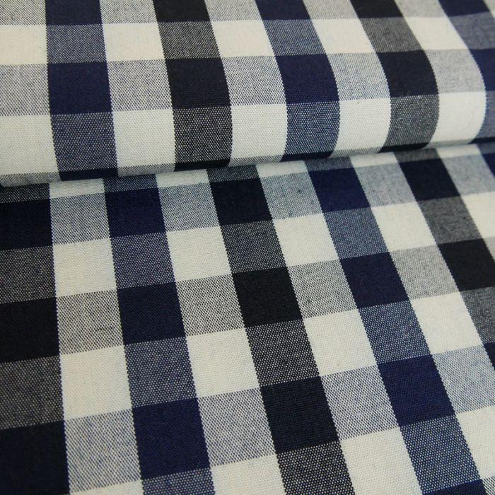 Tissu coton carreaux noir - marine x 10 cm