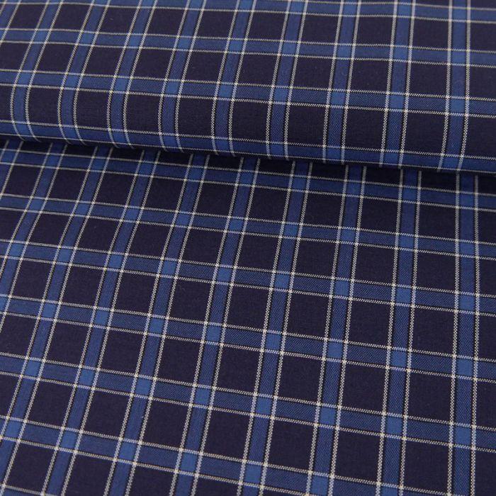 Tissu coton carreaux marine - bleu x 10 cm