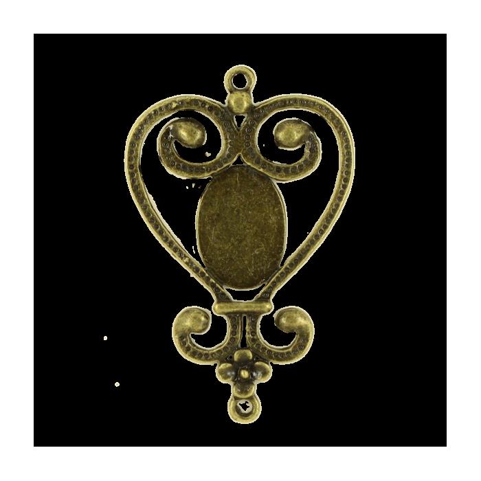 Breloque intercalaire coeur pour cabochon 50mm bronze x1
