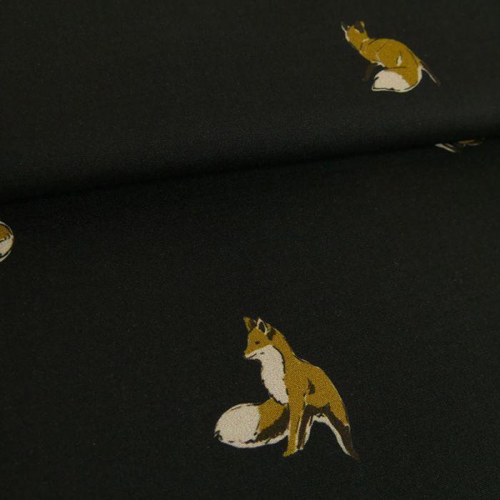 Tissu viscose fine renards - noir x 10 cm