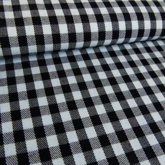 Tissu coton carreaux bleu - noir x 10 cm
