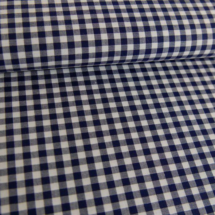 Tissu coton carreaux vichy - marine x 10 cm