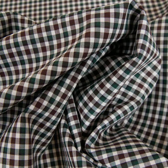 Tissu coton carreaux vichy marron - vert x 10 cm