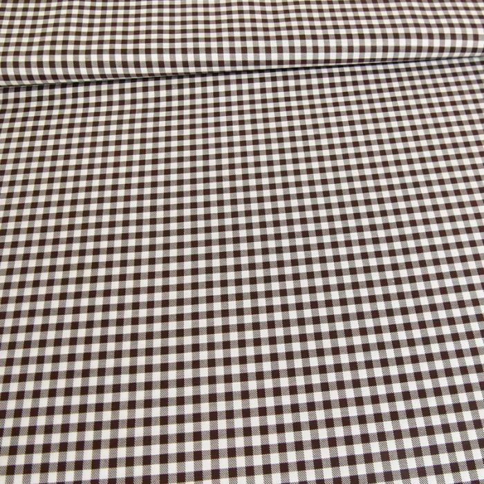 Tissu coton carreaux vichy - marron x 10 cm