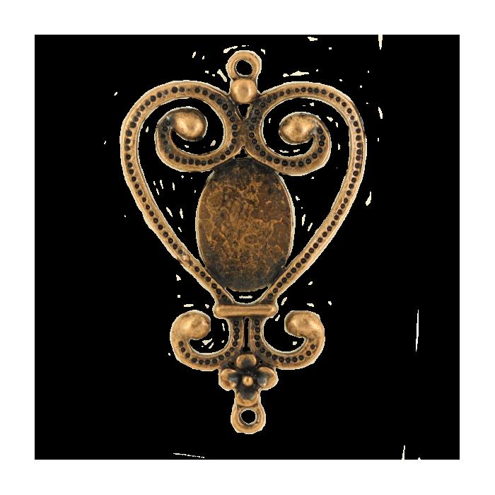 Breloque intercalaire coeur pour cabochon 50mm cuivre x1