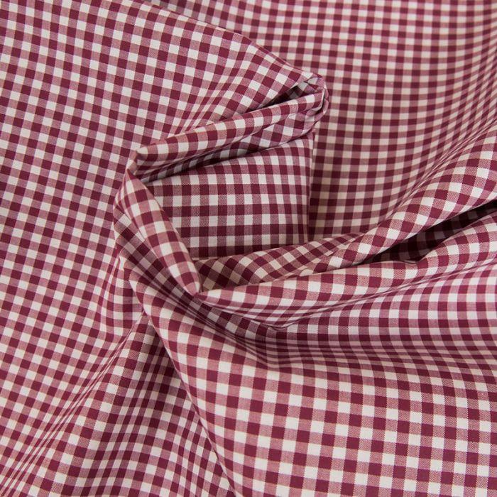 Tissu coton carreaux vichy - rouge x 10 cm