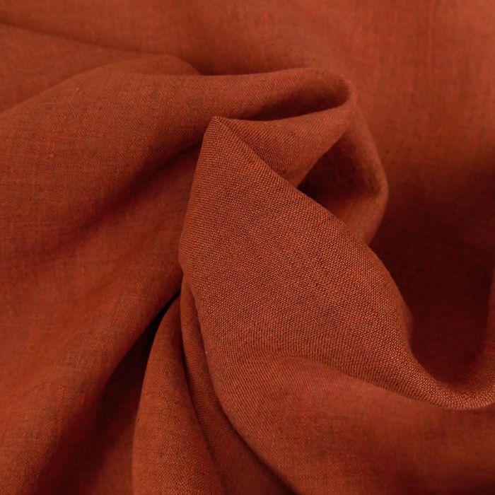 Tissu lin rustique - rouille x 10 cm
