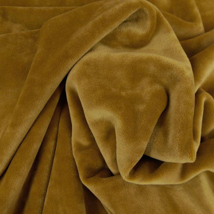 Tissu velours stretch - moutarde x 10 cm