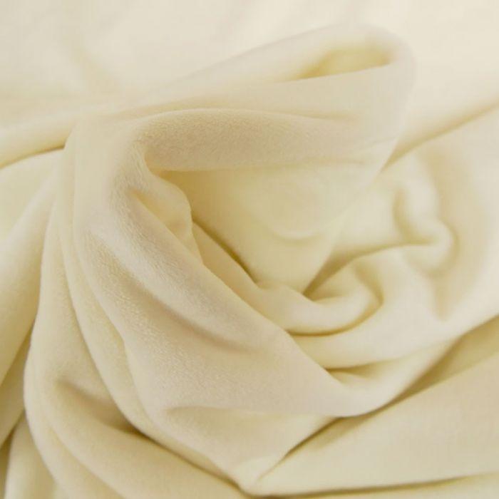 Tissu velours stretch - blanc x 10 cm