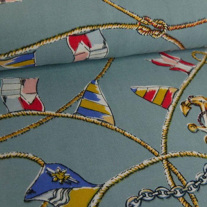 Tissu viscose ancres - bleu ciel x 10 cm