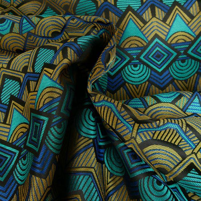 Tissu jacquard géométrique - bleu x 10 cm