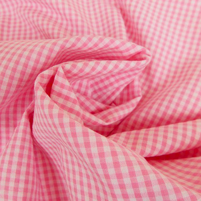 Tissu seersucker vichy - rose clair x 10 cm