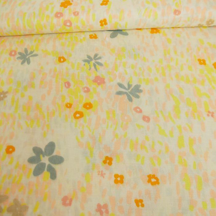 Tissu double gaze coton fleurs écru - Rico Design x 10 cm