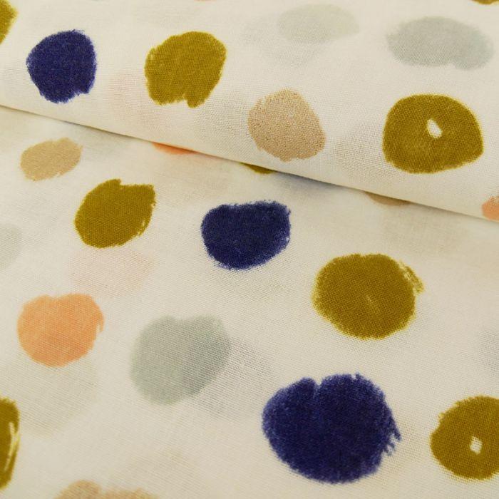 Tissu double gaze coton pois écru - Rico Design x 10 cm