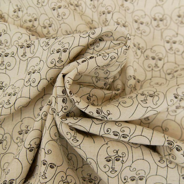 Tissu lin viscose visages - beige x 10 cm