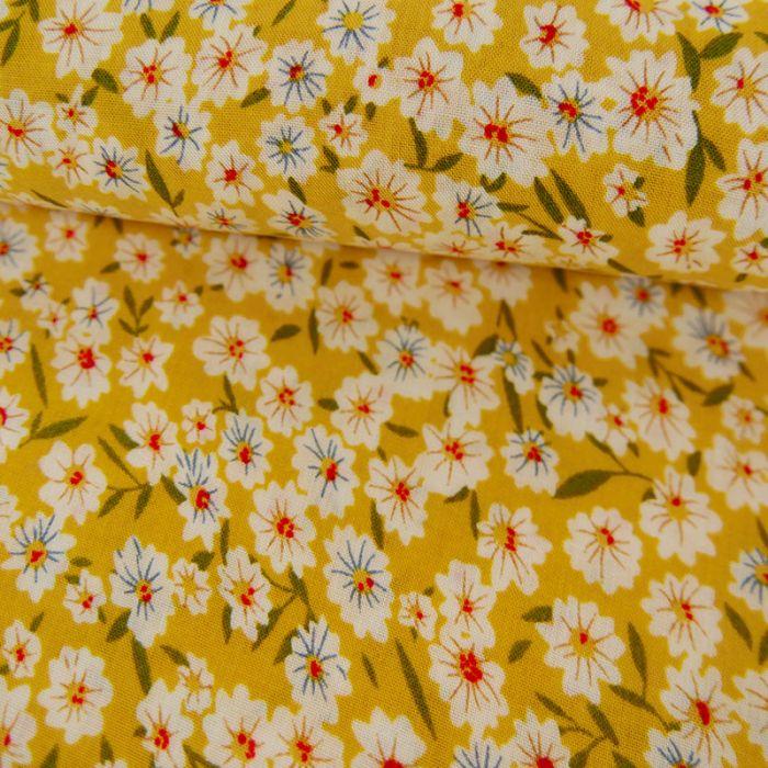 Tissu viscose fleurs - jaune x 10 cm