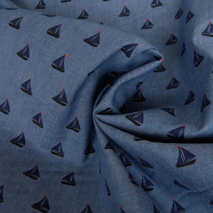 Tissu chambray bateaux - bleu x 10 cm