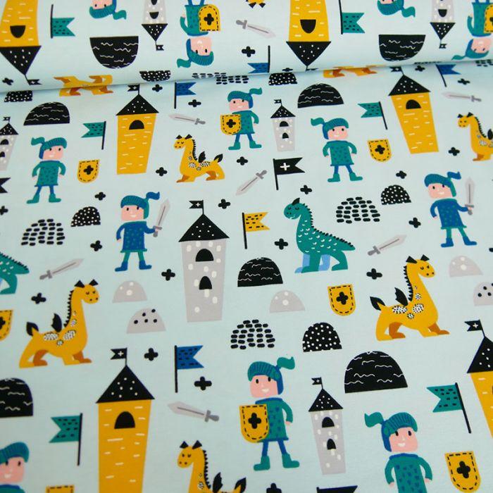 Tissu jersey chevaliers - bleu ciel x 10 cm