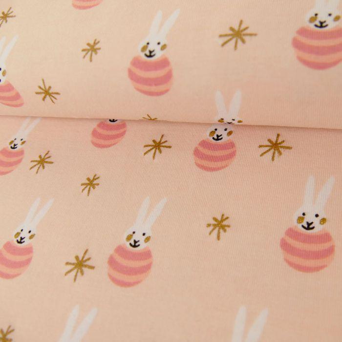 Tissu jersey coton lapins rose - Rico Design x 10 cm