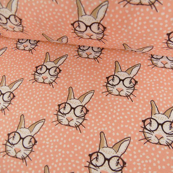 Tissu coton oeko-tex lapins - saumon x 10cm