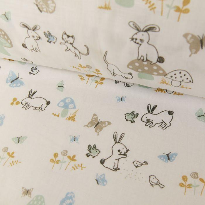 Tissu coton oeko-tex forêt - blanc x 10cm