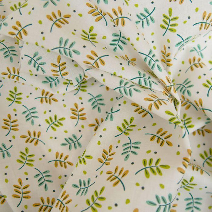 Tissu coton oeko-tex feuilles - blanc x 10cm