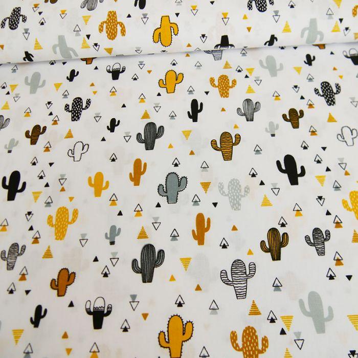Tissu popeline de coton cactus jaunes - blanc x 10 cm