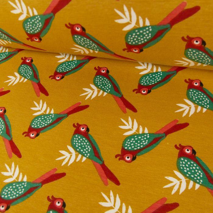 Tissu jersey coton oiseaux - moutarde x 10cm
